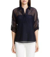 women's akris punto grid mesh blouse, size 16 - blue
