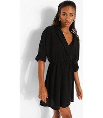 gesmokte jurk met open kraag, black