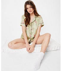 womens satin giraffe print pajama shirt and shorts set - olive