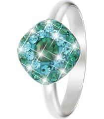anello in argento 925 rodiato e cristalli verdi per donna