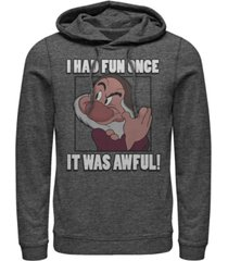 disney men's snow white and the seven dwarfs grumpy had fun once, pullover hoodie