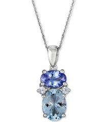 "multi-gemstone 18"" pendant necklace (2-1/5 ct. t.w.) in 10k white gold"