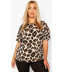 plusmaat t-shirt en fietsbroek met luipaardprint, zwart