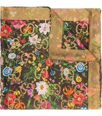gucci gg supreme flora print scarf - gold