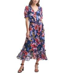 calvin klein chiffon floral maxi dress