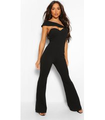 aysmetric cut out wide leg jumpsuit, black