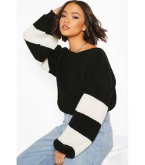 balloon sleeve stripe sweater, black