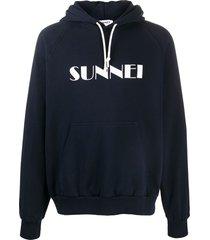 sunnei raglan-sleeves logo hoodie - blue
