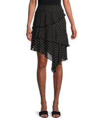 bailey 44 women's dean multi-tiered dot-print skirt - black - size 0