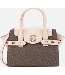 michael michael kors women's carmen small flap belted satchel - brown/soft pink