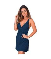 1 camisola renda sensual linha noite lingerie feminina azul escuro