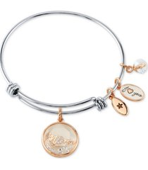 unwritten crystal mom shaker charm bangle bracelet in stainless steel & rose gold-tone with silver plated charms