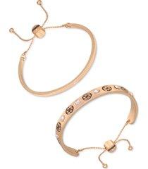 guess gold-tone 2-pc. set textured & crystal logo slider bracelets