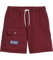 men's noah twill utility shorts, size medium - burgundy