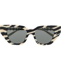 gucci eyewear crystal-embellished cat-eye sunglasses - black