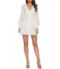women's bardot mariah long sleeve swiss dot & lace babydoll dress, size x-large - ivory
