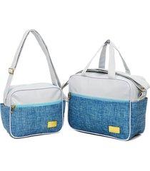 kit 2 peças bolsa e frasqueira mamáe bebe moderna prática baby nut azul - tricae
