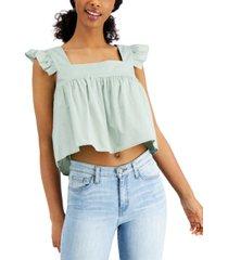 leyden ruffled sleeveless crop top
