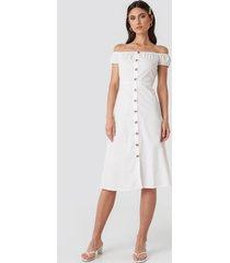 na-kd off shoulder midi dress - white