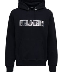 balmain black jersey hoodie with logo print