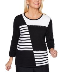 alfred dunner petite well red patch stripe sweater