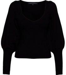 joss knits puff sleeve jumper gebreide trui zwart french connection