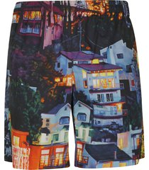 msgm graphic house print shorts