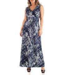 24seven comfort apparel women's plus size brush texture print maxi dress