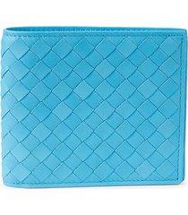 bottega veneta men's intrecciato leather bi-fold wallet - sky blue