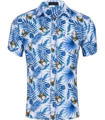 manica corta estiva stampata hawaiiana da abb, manica corta camicia per uomo
