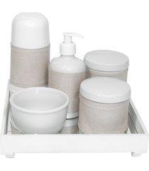 kit higiene espelho completo porcelanas, garrafa pequena e capa branco quarto bebê unissex
