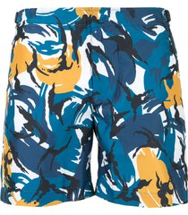 orlebar brown bulldog camouflage swim shorts - blue