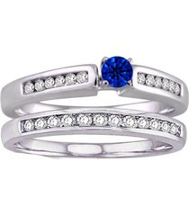 10k white gold over sapphire & d/vvs1 diamond his & her wedding bridal ring set