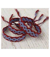 cotton wristband bracelets, 'geometric path' (set of 3) (mexico)