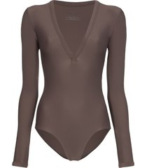 matteau maillot long-sleeve swimsuit - brown