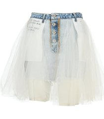 unravel tulle layered mini denim skirt