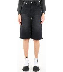 ganni high-waisted stretch denim bermuda shorts