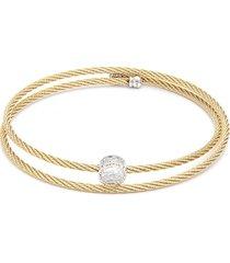 alor women's 14k yellow gold, yellow-tone stainless steel & white topaz cable bracelet