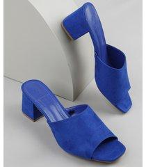 tamanco feminino oneself salto quadrado médio em suede azul escuro