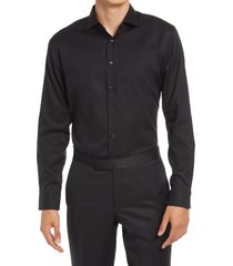men's big & tall nordstrom extra trim fit diamond non-iron dress shirt, size 18.5 - 34/35 - black
