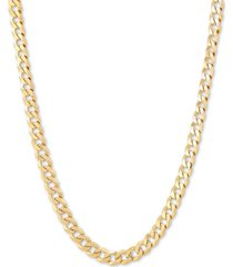 """flat curb link 24"""" chain necklace in 18k gold-plated sterling silver"""