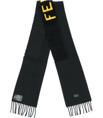 fendi fendi embroidered scarf - black