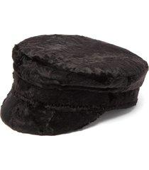 faux fur baker boy cap