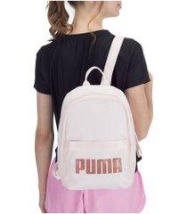 mochila puma core base - feminina - rosa claro