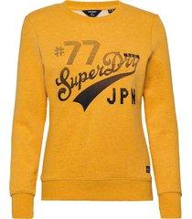 rw classic applique crew sweat-shirt tröja gul superdry