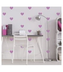 adesivo de parede quartinhos infantil coraçáo lilás