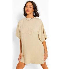 nyc oversized t-shirt jurk, sand
