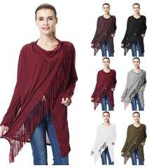 women irregular tassel cotton blend cardigan loose sweater outwear jacket poncho