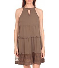 korte jurk vero moda robe new dina taupe lovely ss top pp