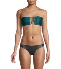 mikoh swimwear women's fiji metal ring bandeau bikini top - honu - size s